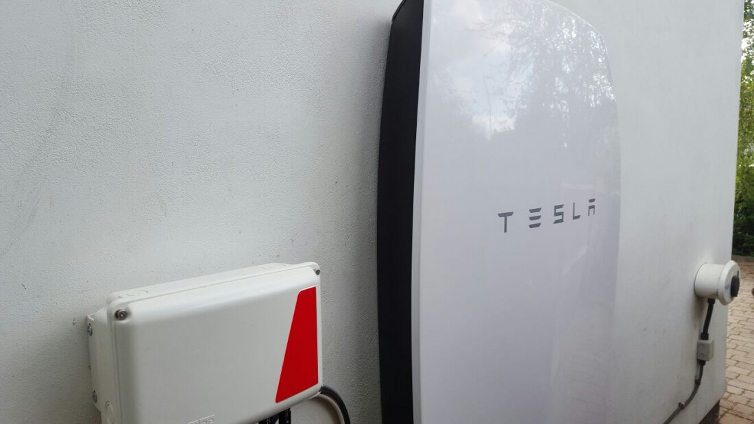 And there it is...one installed Tesla Power Wall.