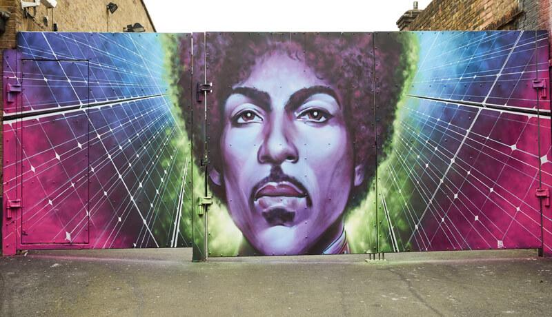 Prince, mural, solar, purple, new power generation, Camden, social housing