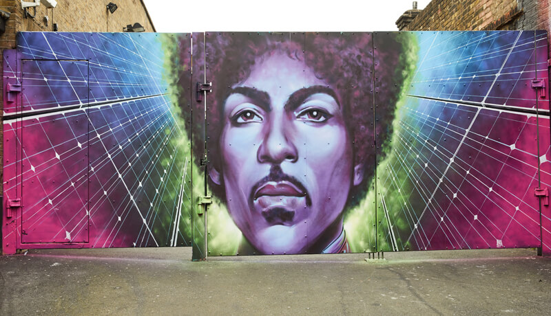 Prince, mural, solar, purple, new power generation, Camden, social housing