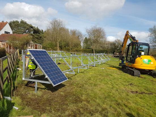groun mount array, frames, piles, solar field, solar farm