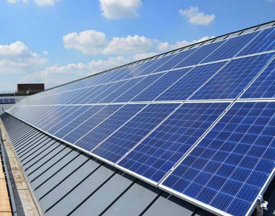 University of Reading, solar panels, Edith Morley, sunshine, blue sky