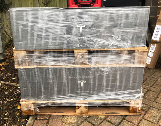 Tesla, Powerwall, boxed, unboxing, pallet, multiple Powerwalls