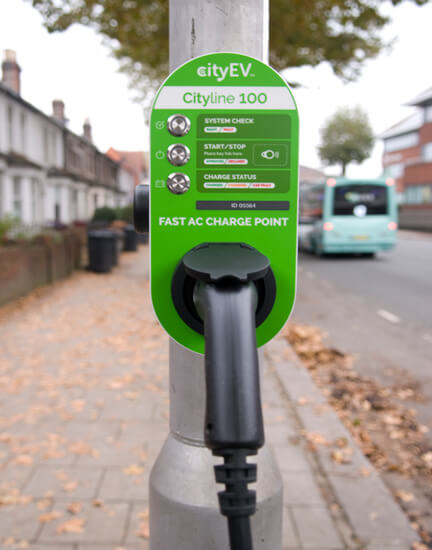 City EV, Cityline 100, RFID access, lamp post
