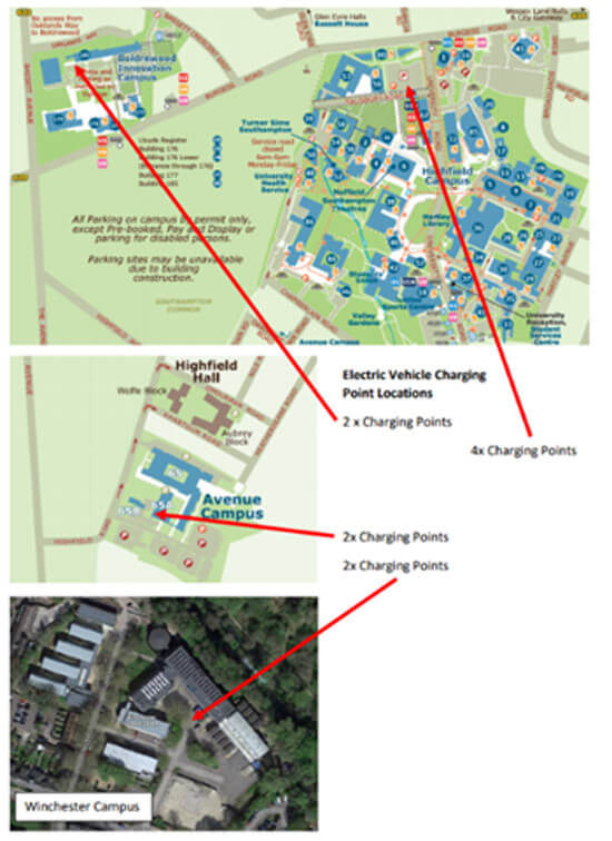 University of Southampton, EV charge point, locations, map