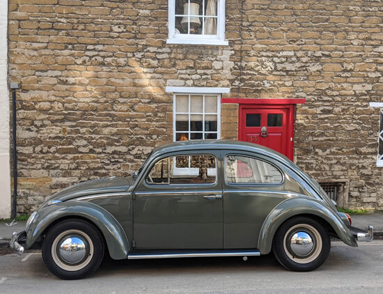 electric VW beetle, classic, Cotswolds