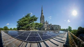 Salisbury Cathedral, solar, wide angle, spire, Sunfixings