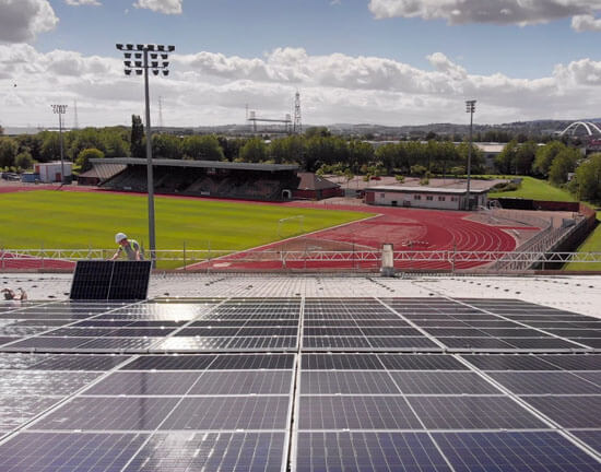 Egni Coop, SOlar Roof, Geraint Thomas Velodrome, Newport, largest solar roof in Wales