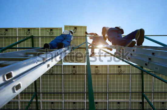 bad stock images, solar, ladders not scaffold