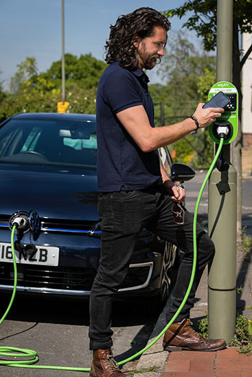 EV charging, lamp post, phone app