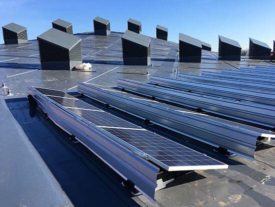 SOlar PV, flat roof, Sika Sarnafil roof, SSM1, Sika Solamount